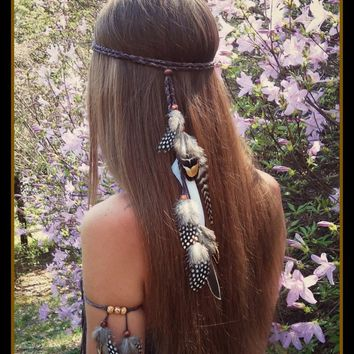 Bohemian Ethnic Gypsy Handmade Feather Headband Festival Hippie Headdress Indian Headpiece Hiar Band Accessories Fashion Jewelry