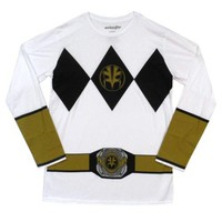Power Rangers I Am White Ranger Costume Adult Long Sleeve T Shirt