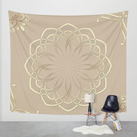Bohemian Mandala Tapestries Wall Tapestry Pastel Brown Beige Wall Hanging Boho Decor, Mandalas Bedroom Decor, Home Decor Wall Art