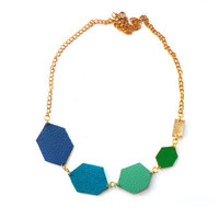 Blue and green diamond shapes geometric leather necklace