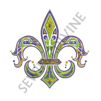Fleur de lis EMBROIDERY Design in Mardi Gras Colors for 4x4 5x7 7x11 hoops Instant Download
