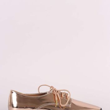 Qupid Mirror Metallic Lace Up Oxford Flat