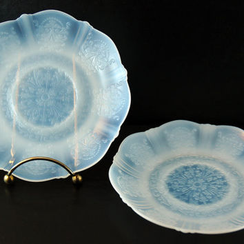Vintage Depression Glass Pair of Saucers, Monax Glass, American Sweetheart Pattern, MacBeth Evans