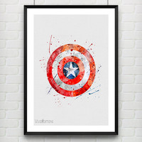 Captain America Shield Watercolor Art Print, Marvel Superhero Watercolor Poster, Boys Room Wall Art, Not Framed, Buy 2 Get 1 Free! [No. 188]