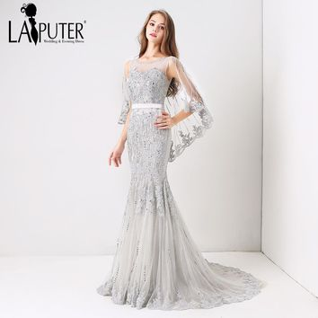 LAIPUTER 2018 Spring Collection Light Grey Sexy Mermaid Lace Appliques Beading Crystal Long Evening Prom Dresses Custom Made