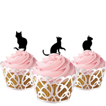 Cat Cake topper for kids, cupcake toppers acrylic, 6 pcs in one set topper for birthday, baby birthday cake decor
