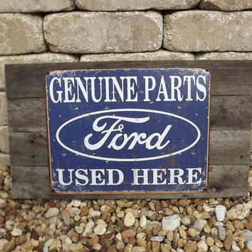Ford Genuine Parts Retro Handmade Reclaimed Wood Sign USA