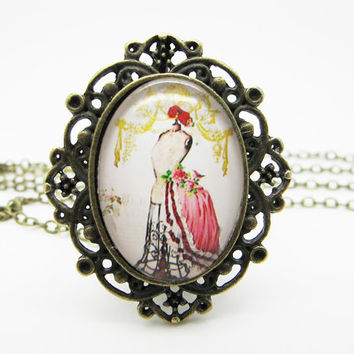 Vintage style mannequin necklace,tailor's dummy,personalized jewelry DN908