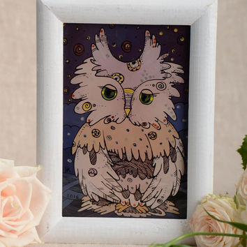 Beautiful homemade oil painting in white wooden frame for home decor Owl