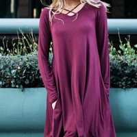 Solid rayon spandex shift dress with split neck & pockets