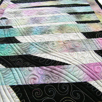 Quilted Art Wall Hanging, Abstract, Black, White and Pastels