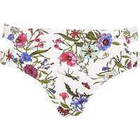 River Island Womens White floral print split side bikini bottoms