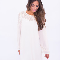 Cream Lace Top Shift Dress