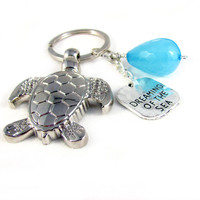 Dreaming of the Sea Keychain, Sea Turtle Keychain, Beach Keychain, Car Accessory, Turtle Keyring, Valentine Gift, Turtle Charm Keychain