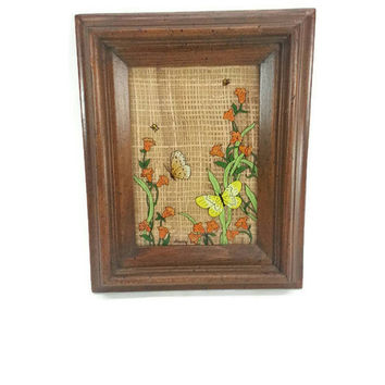 Vintage Reverse Painted Glass of Butterflyand Flowers, Straw, Burlap