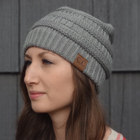 Thick Knit Cozy Beanie - Grey with Slight Slouch