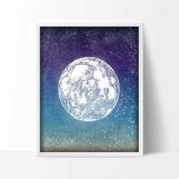 Full Moon Astronomy Art Print, Starry Night Poster, Stars, Universe, Pagan, Science Nursery Wall Art