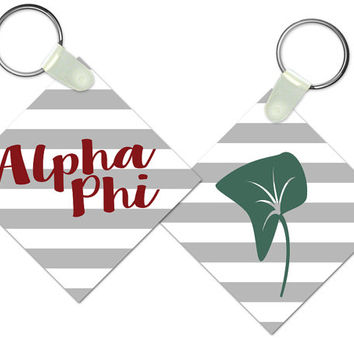 Alpha Phi Striped Keychain // Sorority Gift