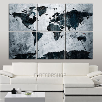 Canvas Art Print Blue and White WORLD MAP on Old Metalic Background- 6 Panel Vintage World Map Canvas Art Print - Retro World Map - MC13