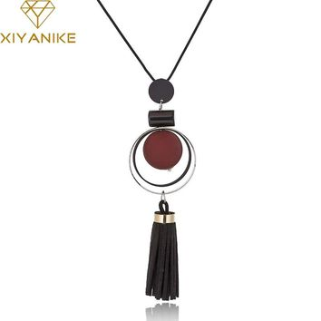 XIYANIKE New Fashion Jewelry Round Wood Beads Crystal Tassel Statement Necklaces & Pendants For Women Long Sweater Chain N894