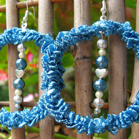 SALE - Crochet Hoop Earrings in Ocean Blue, No. H11