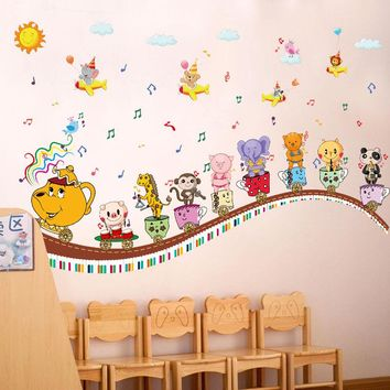 [Fundecor] cartoon animal music note cup children wall stickers for kids rooms nursery wall decoration decals