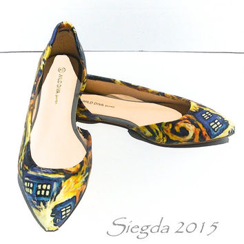 Exploding Tardis Women's Flats - Van Gogh- Dr Who- Geek- Comic Com- Custom Shoes- Wedding Flats- Gift for her- Personalized Heels -11 Doctor