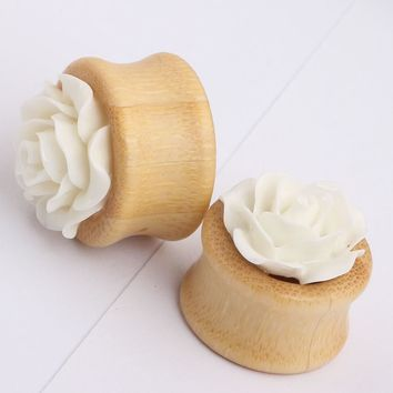 1 pair fashion flesh tunnels ear plugs pure romantic flower wood ear expander saddle 10mm--20mm piercing body jewelry