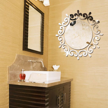 46*46cm Creative Round with Lace DIY 3D Acrylic Mirror Surface Wall Stickers For Bedroom Bathroom Dresser Living Room