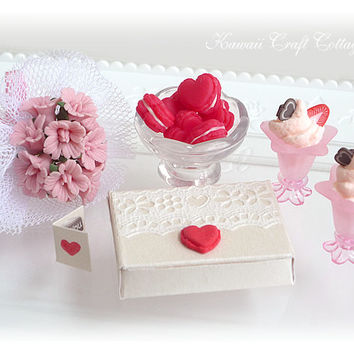 Valentine, Gift, Set, Love, Heart, Macaron, Cake, Box, Pastry, Flower, Fake, Doll, Food, Party, Sundae, 1:6, Red, Pink, Mother, Blythe, Dal