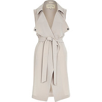 River Island Womens Grey crepe sleeveless trench jacket