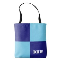 Customizable Blue Grid Monogram Tote Bag