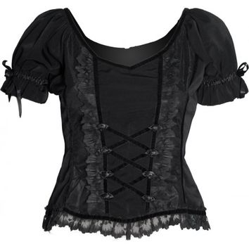 Sinister black lace and ribbons women's puff sleeve top