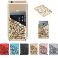 Pretty Adhesive Sparkly Glitter Card Holder Pocket Sleeve Cell Phone Accessory