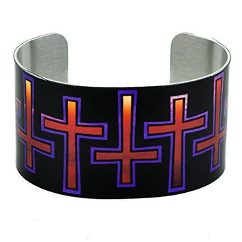 Hell Fire Gothic Cross Cuff Bracelet Metal Design Jewelry