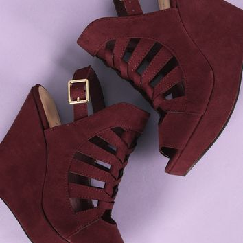 Suede Peep Toe Caged Slingback Platform Wedge