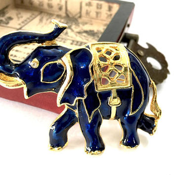 Walking Blue Elephant Brooch, Deep Blue Enamel, Elephant w Trunk Up, Polished Gold Tonel, Open Metal Work on Blanket, Vintage Figural Brooch