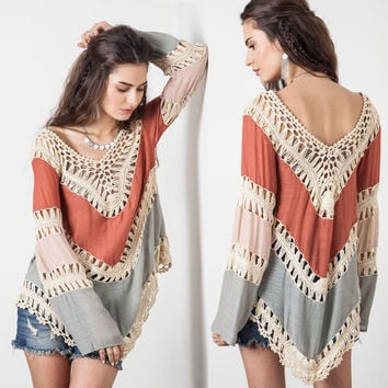 Women's V-Neck Long Sleeve Knit  Beach Poncho Cover up Patchwork Beachwear