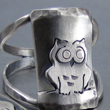 Night Owl Silver Owl Ring by Beth Millner By Beth by BethMillner