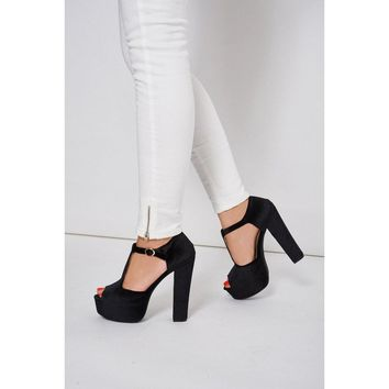 Black Velvet Block Heel Platform T-Bar Sandals