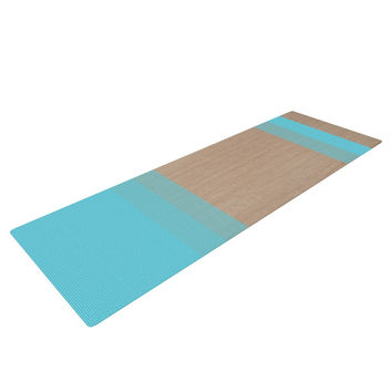 "Brittany Guarino ""Art Blue"" Aqua Wood Yoga Mat"
