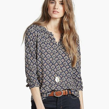 Lucky Brand Diamond Woodblock Top Womens