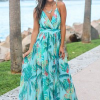 Turquoise Tropical Print Maxi Dress