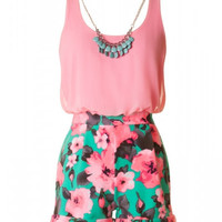 Neon Floral Romper with Necklace - Pink