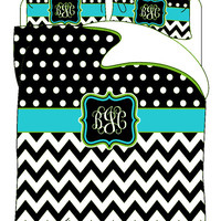 Custom Personalized Chevron & Polka Dots Duvet and Shams  Black-white and Turquoise- Lime -Available Tw-FQu-King Sizes - any accent colors