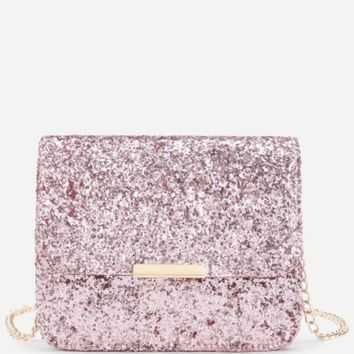 Pink Glitter Sequined Crossbody Handbag with Chain Strap