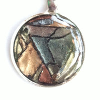 Diachromatic stained glass effect polymer pendant necklace with resin overlay. Beautiful and original. Guaranteed unique. Funky BOHO