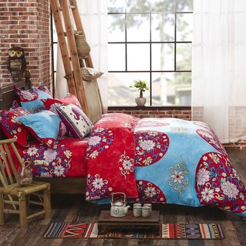 Boho Bedding Set Floral Bed Linen Home Textiles Printed Duvet Cover Twin Queen couvre lit Direct Selling