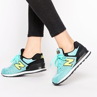 New Balance 574 Green Marl & Yellow Trainers