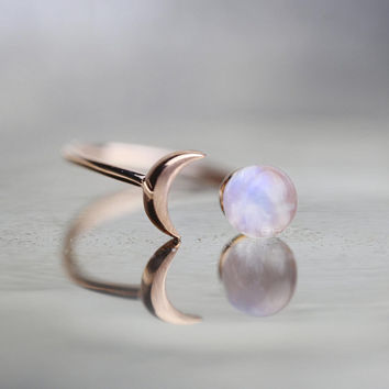 Rose Gold Ring Rainbow Moonstone Ring For Best Friend Girlfriend Gift Crescent Moon Ring Celestial Jewelry Inspirational Statement Jewelry